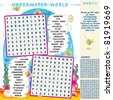 Underwater world zigzag word search puzzle, answer included ( for high res JPEG or TIFF see image 81919672 )