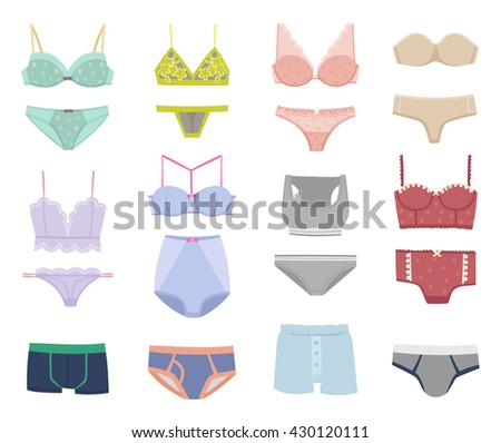 Underwear isolated male and female underwear isolated on white background. Underwear isolated vector clothing cotton textile pants and underwear isolated beauty bra woman accessory design. - stock vector