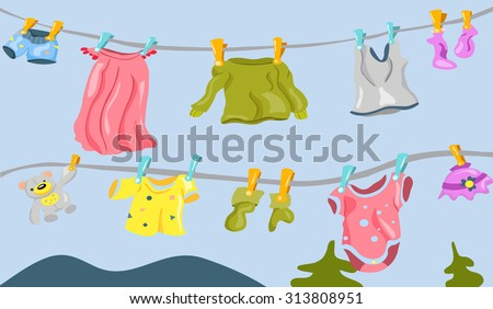 underwear on the clothesline - stock vector