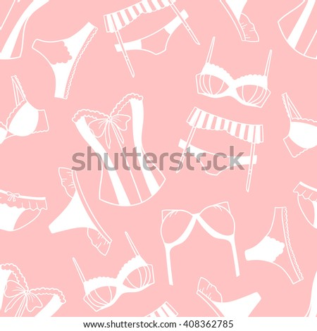 Underwear women cartoon seamless pattern. Doodle background vector. Big collection of women's lingerie. Catalog with lady clothes - stock vector