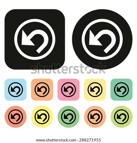 Undo icon. Back arrow symbol. Tool bar icon. Vector - stock vector