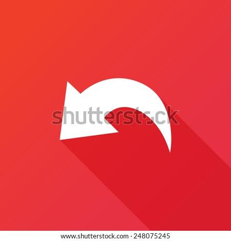 Undo Icon. Long shadow - stock vector