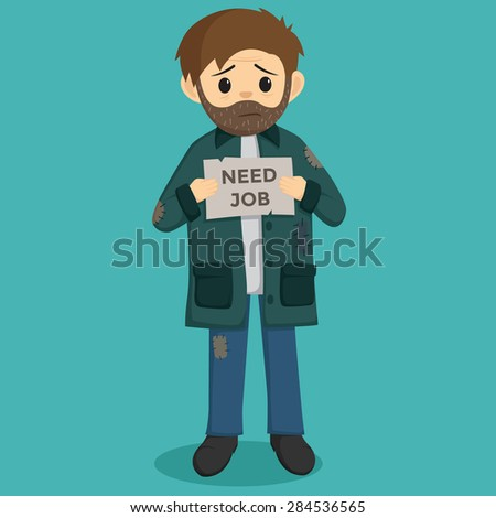 Unemployed Man Holding A Paper With Need Job Text And Background - stock vector