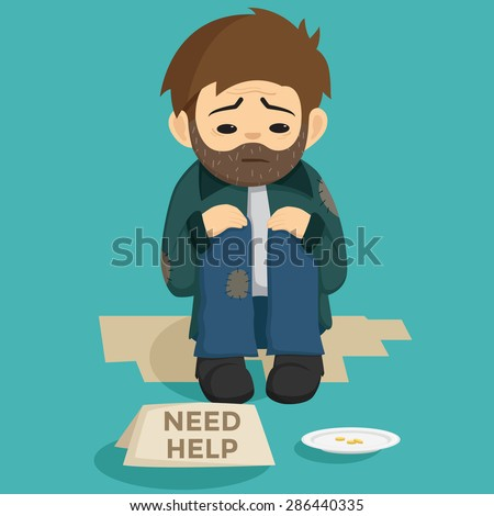 Unemployed Man Sit On The Side Of Street With Need Help Text On The Paper - stock vector