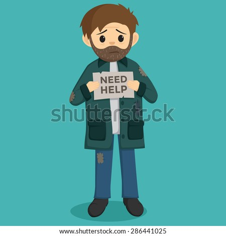 Unemployed Men Holding a Paper With Need Help Text - stock vector