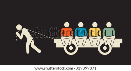 unfair workload: one person carrying a wagon full of  idling people - stock vector
