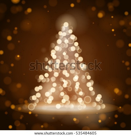 Unfocused Blurred Lights and Christmas Tree on the Brown Square Background