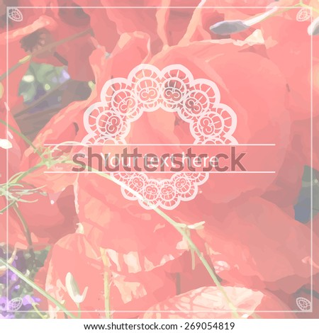 Unfocused floral background with a place for your text. Element for card design. Vector illustration