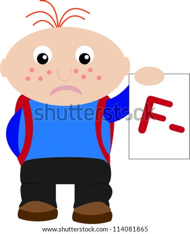 Unhappy student with F- - stock vector
