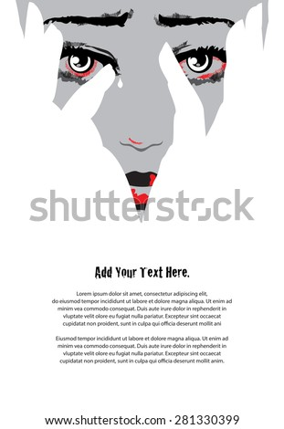 Unhappy woman cries covering face with hands. Eyes filled with tears. Stop violence against women concept. Simple but powerful two colors and negative space design. Illustration. - stock vector