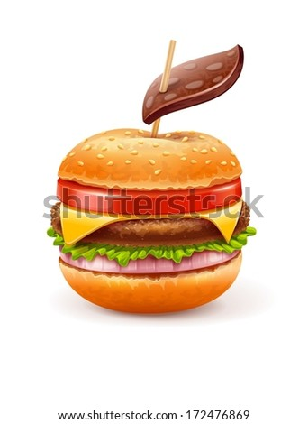 Unhealthy eating concept with hamburger like apple with leaf.  EPS10 vector illustration - stock vector