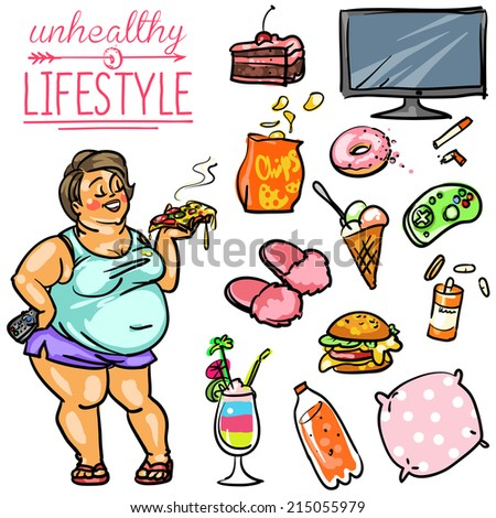 Unhealthy Lifestyle. Hand drawn cartoon collection - stock vector