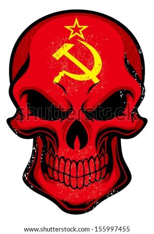 Uni soviet flag painted on a skull - stock vector
