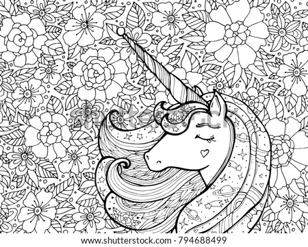 Horse head coloring page stock images royalty free images Majestic animals coloring book