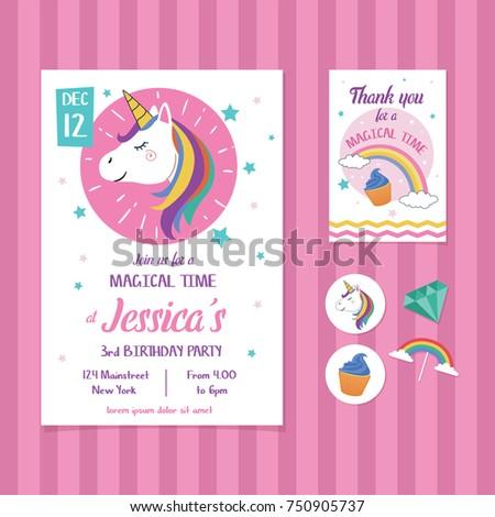 Unicorn Birthday Invitation Card Template Unicorn Stock Photo (Photo ...