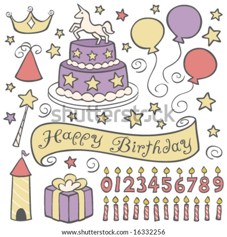 Unicorn Birthday Party - stock vector