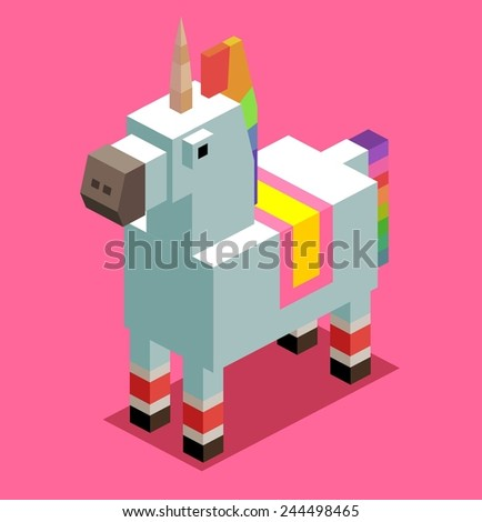 unicorn. 3d pixelate isometric vector - stock vector