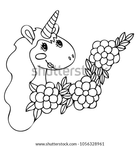 Unicorn Coloring Book Magical Anima Coloring Stock Vector 1056328961 ...