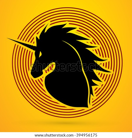 Unicorn Head designed on line circle background graphic vector.