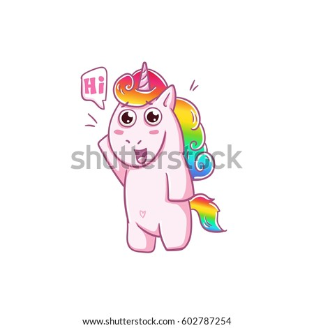 Unicorn hello hi love sticker vector stock vector 602787254 shutterstock