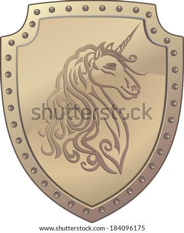Unicorn horse on shield - stock vector