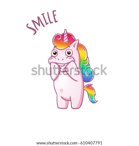 Unicorn i need your smile love the sticker vector card