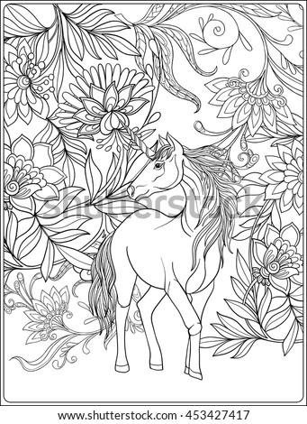 magical unicorn coloring pages - unicorn magical garden vintage decorative floral stock