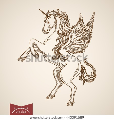 Unicorn mythical flying creature animal wild horse wind standing on hind legs. Engraving style pen pencil crosshatch hatching paper painting retro vintage vector lineart illustration.