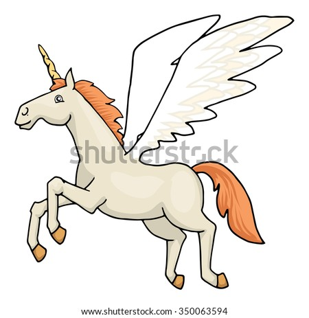 Unicorn Pegasus Happy Flying Horse Vector Stock Vector Royalty Free