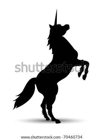 unicorn silhouette fantasy animals - stock vector