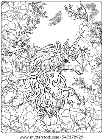 Unicorn The Composition Consists Of A Surrounded By Bouquet Roses Outline