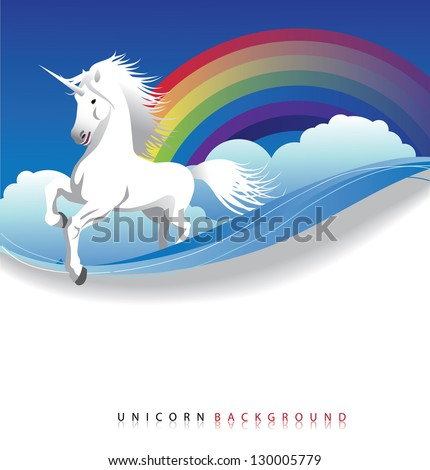 Unicorn with rainbow background. EPS 8 vector, grouped for easy editing. No open shapes or paths. - stock vector