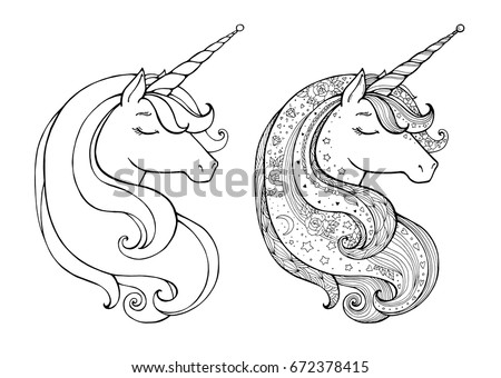 magical animal vector artwork black white coloring book pages