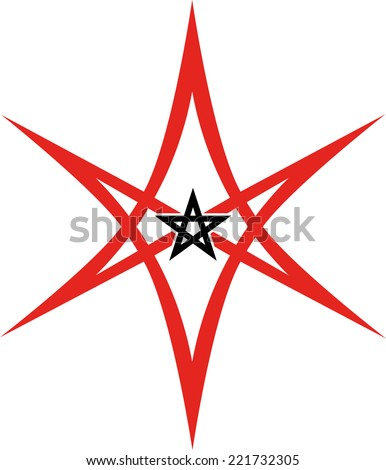 Unicursal Hexagram, Pentagram - stock vector