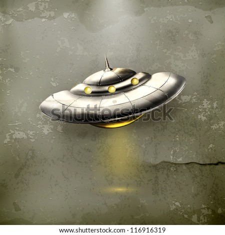 Unidentified flying object, old-style vector - stock vector