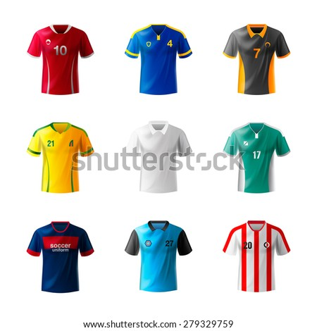 Uniform national soccer teams. Football jersey set. - stock vector