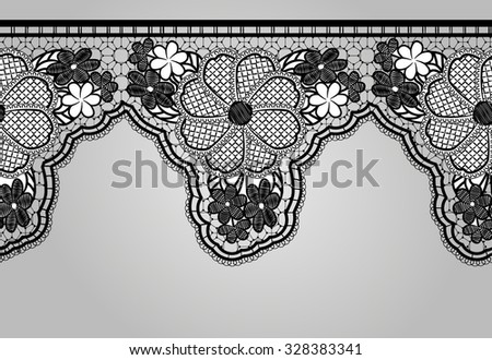 Unilateral Black seamless lace braid. Lacy background. Vector illustration. - stock vector