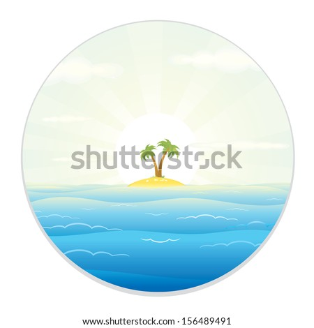 Uninhabited Island. View from the Telescope or a Spyglass. Cartoon Vector illustration. - stock vector