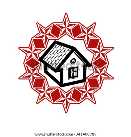 Union idea vector icon, simple house surrounded with red festive stars. Stylized web design element, home art symbol. - stock vector