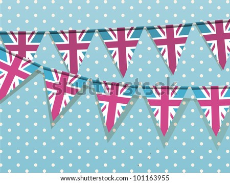 Union jack bunting on a blue polka dot background - stock vector