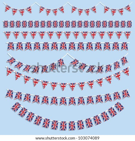 Union Jack flag bunting and banners - stock vector