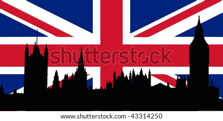 Union Jack with Houses of the Parliament silhouette on - isolated vector illustration - stock vector