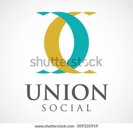 Union ribbon connect social abstract vector logo design template group support business icon company identity foundation symbol concept - stock vector