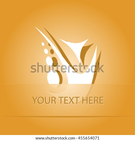 unique abstract forms. Paper orange sticker as bookmark. Vector illustration. - stock vector