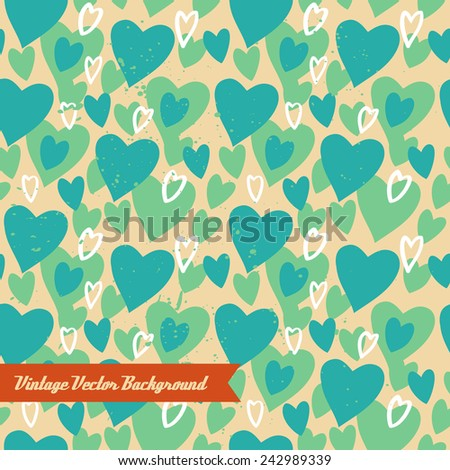 Unique abstract random seamless pattern. The vector hand draw background. Best for wedding cards, bedroom, bags. Hearts. - stock vector