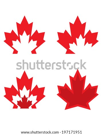 Unique Canadian Maple Leaf Icons - Vector - stock vector