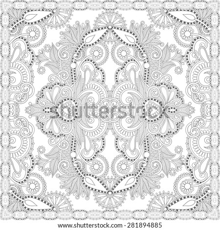 Unique coloring book square page adults stock illustration for Unique coloring pages for adults