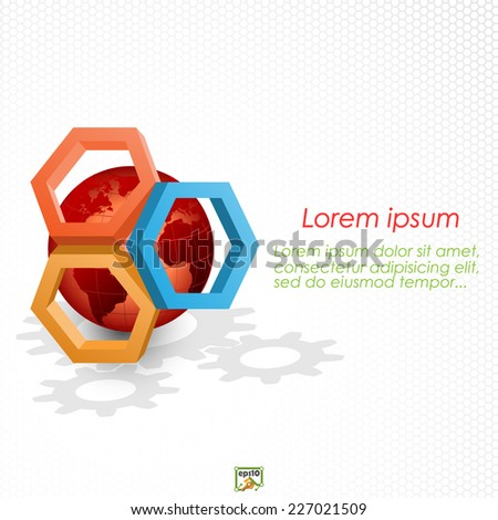 Unique concept for technology background; Earth globe framed by three dimensions hexagons. Abstract background for office and business, wallpaper, poster, template for designers. - stock vector