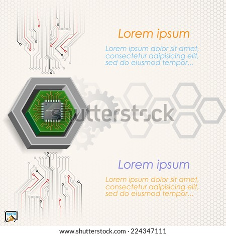 Unique concept for technology background; Mini electronic chip framed by three dimensions hexagon.Abstract background for office and business, wallpaper, poster, template for designers.  - stock vector