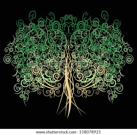 Unique curly green abstract oak tree made with many curves and elements in black background, create by vector.